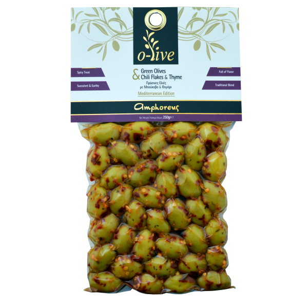 Green Olives with Chili Flakes & Thyme 250gr