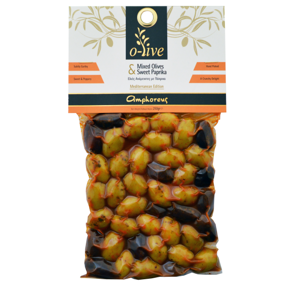 Mixed olives with sweet paprika 250gr