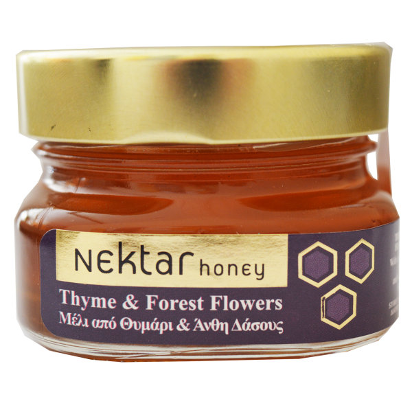 Honey from thyme and forest flowers.