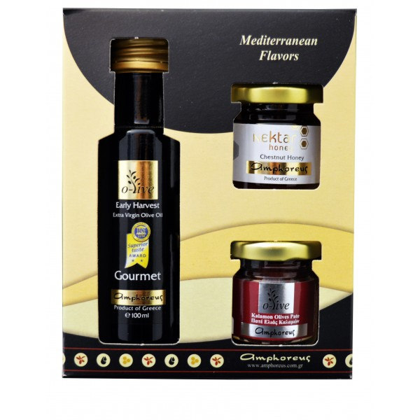 Extra virgin olive oil Gourmet 100ml & Kalamon olive paste 50gr & honey 50gr