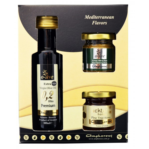 Extra virgin olive oil Premium 100ml & Spicy olive paste 50gr & pine honey 50gr